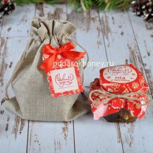 Медовый мусс с кедровым орехом в холщовом мешочке на Новый год