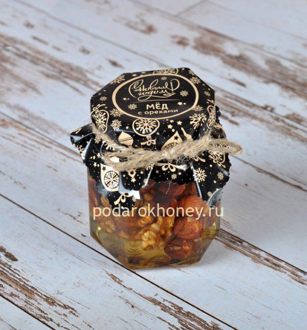 мед с орехами черная этикетка новогодний подарок