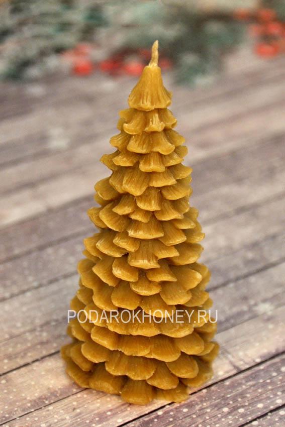 свеча из натурального воска елка