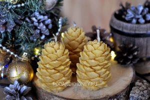 свеча из пчелиного воска шишки