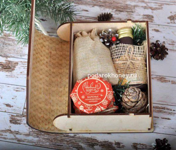 подарок с медом в деревянной упаковке