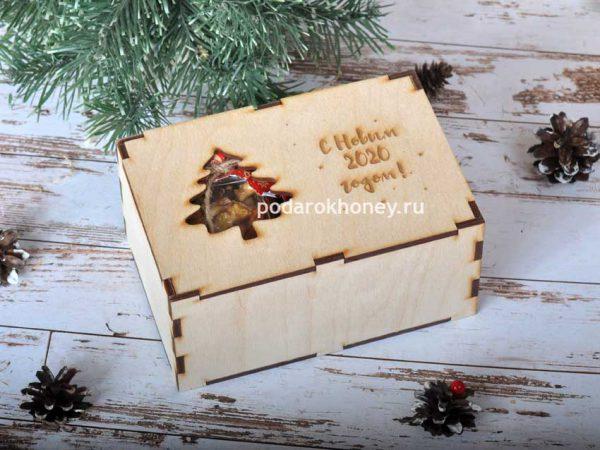 упаковка подарка деревянная коробка