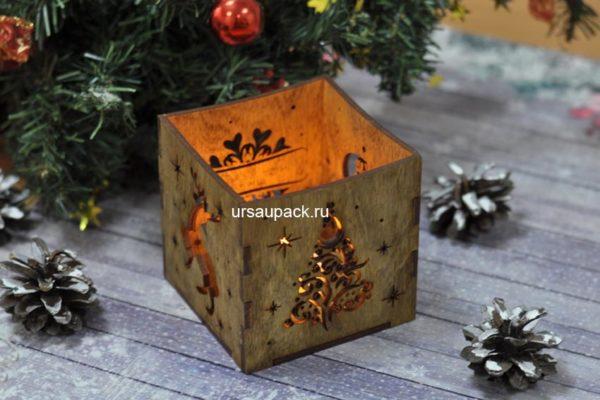 подсвечник деревянный на новый год